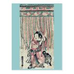 Cortina de la cuerda por Nishimura, Shigenaga Ukiy Tarjeta Postal