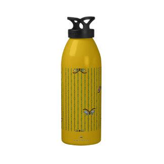 cortina del mariposa y de bambú botella de agua reutilizable
