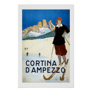 Cortina Italy Vintage Travel Poster