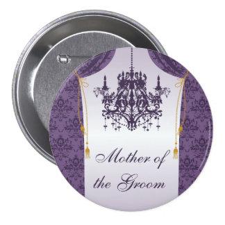 Cortina púrpura del damasco y fiesta nupcial de la pin redondo de 3 pulgadas