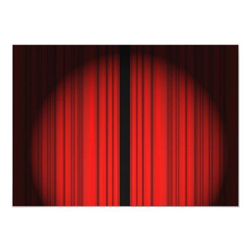 "Cortina roja invitación 5"" x 7"""