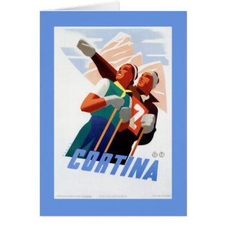 Cortina Vintage Italian travel ski winter sport Card