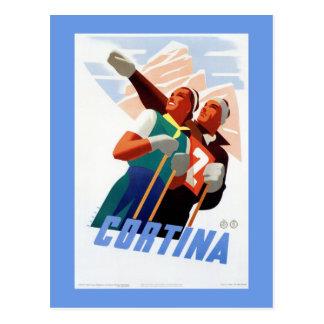 Cortina Vintage Italian travel ski winter sport Postcard