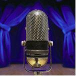 Cortinas retras del micrófono y de la etapa escultura fotográfica