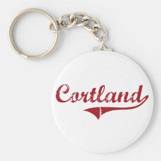 Cortland Ohio Classic Design Basic Round Button Keychain