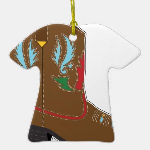 Cortocircuito de las botas de vaquero adorno navideño de cerámica en forma de playera
