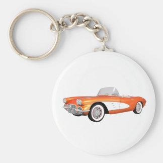 Corvette 1961 C1: Final anaranjado: Llavero Redondo Tipo Pin
