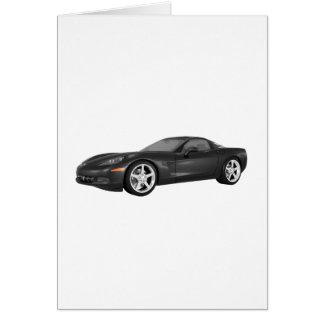 Corvette 2008: Coche de deportes: Acabado en negro Tarjeta De Felicitación