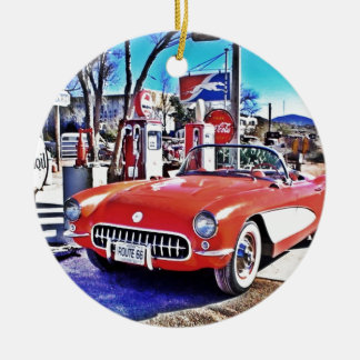Corvette 66 Double-Sided ceramic round christmas ornament