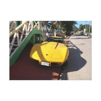 Corvette amarillo clásico impresiones en lona