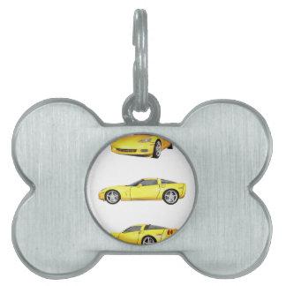 Corvette amarillo: placas mascota