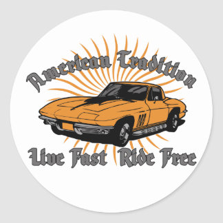 Corvette americano de la tradición pegatina redonda