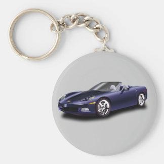 Corvette Basic Round Button Keychain