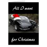 Corvette Black Split Window/Christmas Greeting Cards