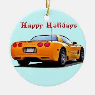 Corvette buenas fiestas adorno navideño redondo de cerámica