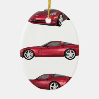 Corvette: Candy Apple Finish Ceramic Ornament