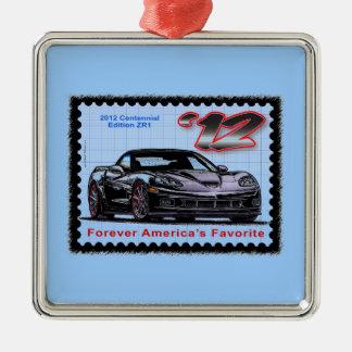 Corvette centenario de la edición 2012 Z06 Adorno Navideño Cuadrado De Metal