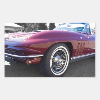 Corvette clásico de la pastinaca pegatina rectangular