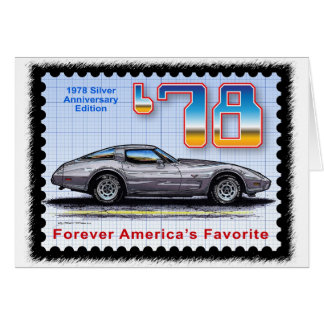 Corvette de plata de la edición del aniversario 19 tarjeton