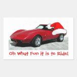 Corvette del rojo de 1979 navidad rectangular pegatina