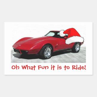 Corvette del rojo de 1979 navidad pegatina rectangular