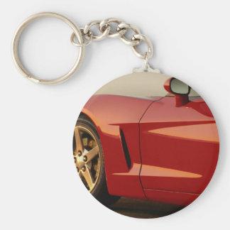 Corvette del rojo del día de padre llavero redondo tipo pin