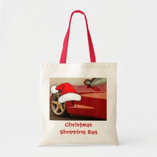 Corvette del rojo del navidad bolsa tela barata