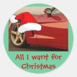 Corvette del rojo del navidad pegatina redonda