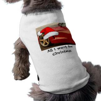 Corvette del rojo del navidad playera sin mangas para perro