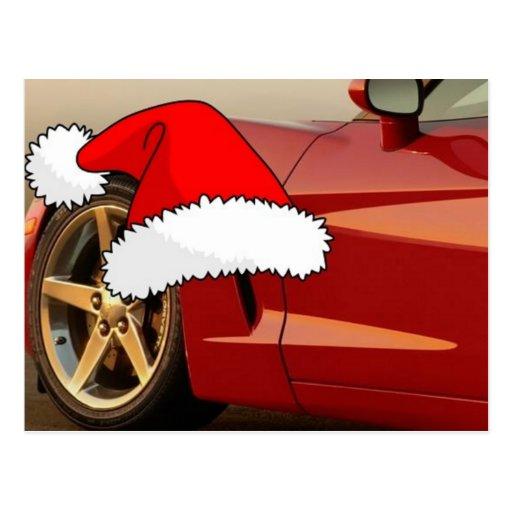 Corvette del rojo del navidad tarjeta postal