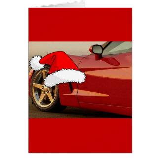 Corvette del rojo del navidad tarjeton