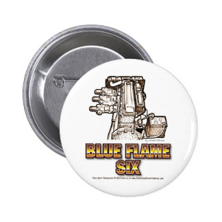 Corvette Engine Blue Flame Six 2 Inch Round Button