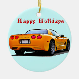 Corvette Happy Holidays Double-Sided Ceramic Round Christmas Ornament