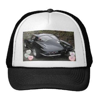 Corvette negro de la tarjeta del día de San Valent Gorros