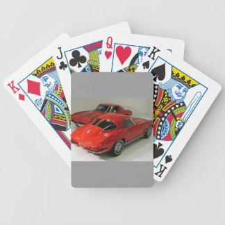 Corvette partido del rojo de la ventana de la obra baraja cartas de poker