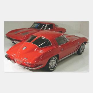 Corvette partido del rojo de la ventana de la obra pegatina rectangular