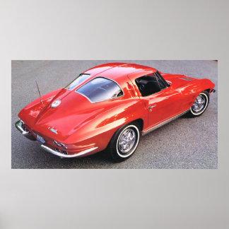 Corvette partido del rojo de la ventana de la obra póster