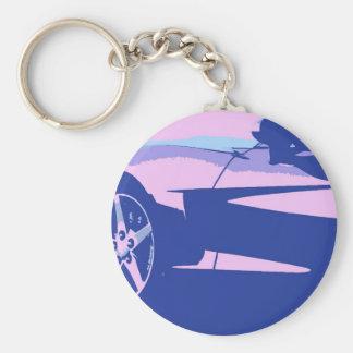 Corvette púrpura y rosado llavero redondo tipo pin