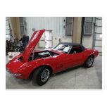 Corvette rojo 1 tarjeta postal