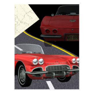 Corvette rojo - diseño del día del coche/de padre postales