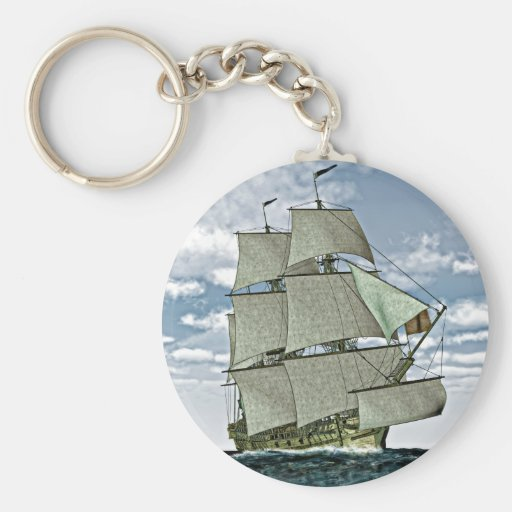 Corvette Sailboat Running before the storm Key Chains