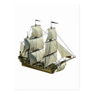 Corvette Sailboat with Full Sails Post Card