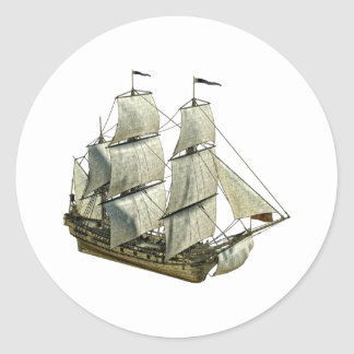 Corvette Sailboat with Full Sails Classic Round Sticker