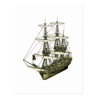 Corvette Sailboat with Furled Sails Post Cards
