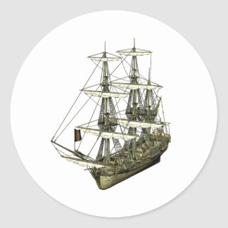 Corvette Sailboat with Furled Sails Classic Round Sticker