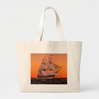 Corvette Sailing Ship at Sunset Canvas Bags