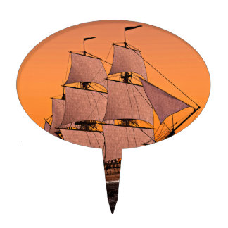 Corvette Sailing Ship at Sunset Cake Topper
