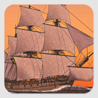 Corvette Sailing Ship at Sunset Square Sticker