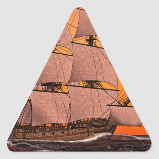 Corvette Sailing Ship at Sunset Triangle Sticker