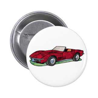 Corvette Sting Ray Roadster Pinback Buttons